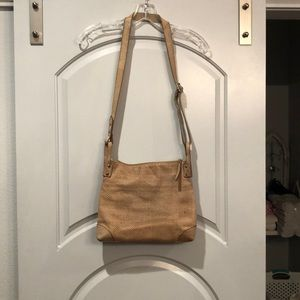 Tan Fossil leather snakeskin look crossbody bag